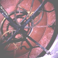 copyright Heather Hobden, photo by Heather Hobden of back of dial of Hampton Court Clock